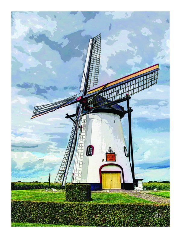 De Witte Molen van Meeuwen Noord-Brabant op Canvasdoek