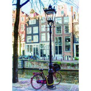 Rode Fiets bij Lantaarnpaal, Brouwersgracht 21, Amsterdam