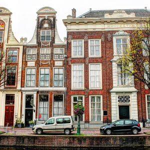 Rapenburg 27 - 31 Leiden van rond midden 1600.