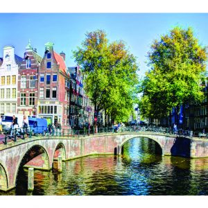 Singel Amsterdam Panorama op canvasdoek
