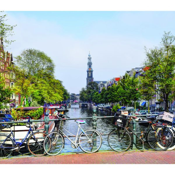 Reesluis brug over de Prinsengracht richting Westerkerk op Canvasdoek