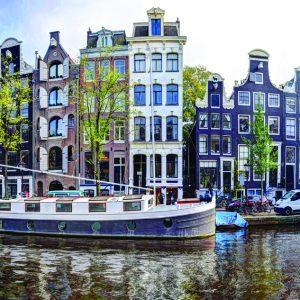 Prinsengracht 322 Amsterdam in de Herfst van 2017 Aluminiumplaat 120 x 40 cm