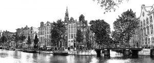Panorama Pen Tekening Amsterdam van Kloveniersburgwal