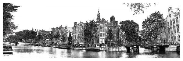 Pen Tekening Amsterdam Panorama Kloveniersburgwal