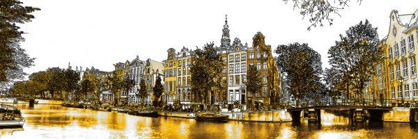 Gouden Kloveniersburgwal Pen Tekening Amsterdam
