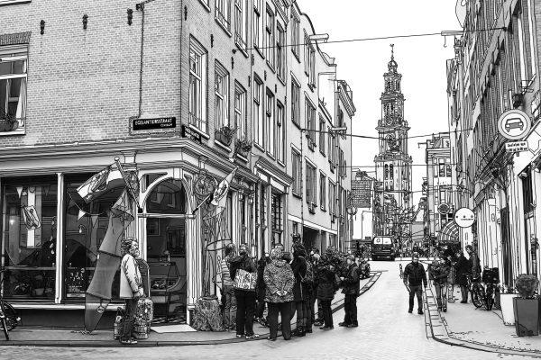 Tekening Egelantiersstraat Amsterdam Westertoren