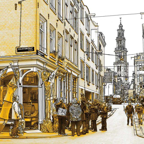 Gouden Tekening Egelantiersstraat Amsterdam Westertoren