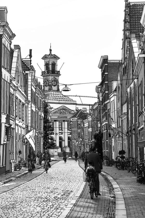 Tekening Dordrecht Stadhuis Grotekerksbuurt