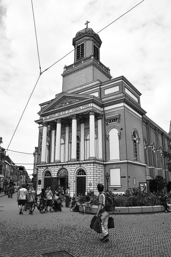 Tekening Leiden Hartebrugkerk Nederland