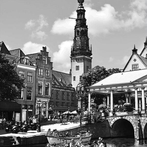 Tekening Stadhuis en Kroonbrug Leiden Nederland