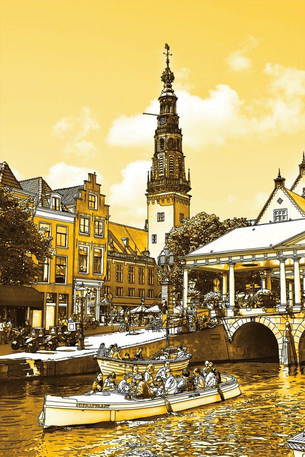 Gouden Tekening Stadhuis en Kroonbrug Leiden Nederland