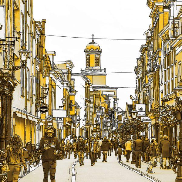 Gouden Tekening Haarlemmerstraat Leiden Nederland